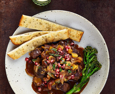 Massaman Venison Curry with Jasmine Rice, Fried Broccoli & Pomegranate