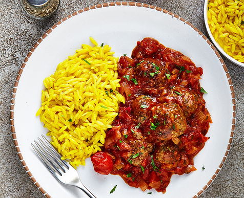 Spicy Venison Meatballs in Tomato Sugo with Saffron Orzo